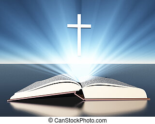 Light radiates from bible under cross