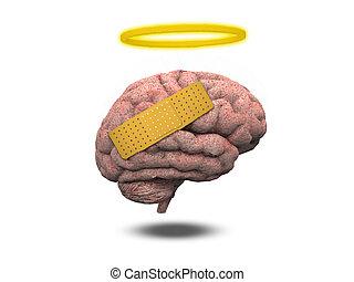 Healing Brain - Hurt brain with halo