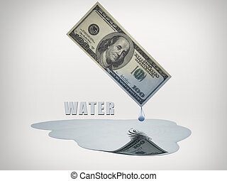 100 Dollar bill drips fresh water