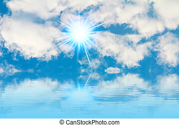 azul, cielo, nubes, sol,  -, brillante, Plano de fondo, pacífico, blanco, cielo