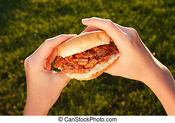 BBQ Pulled Pork Sandwich - a pair of hand is holding a...