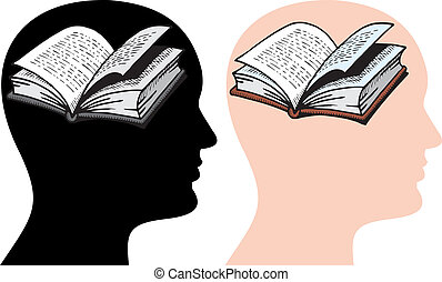 brain as book isolated on white background