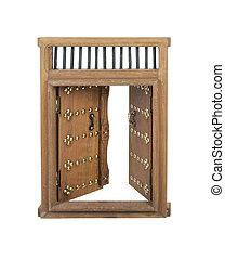 Wooden Open Castle Door with Brass Details - Open Wooden...