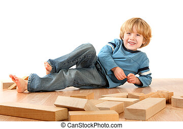 Happy Boy with blocks