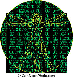Leonardo da Vinci man as a matrix background