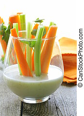 carrots and celery with dip
