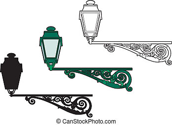 Green Lantern - Vector illustration of a 1900s-style...