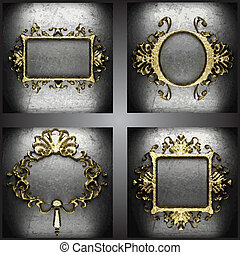 vector golden frames set