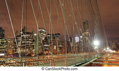 timelapse of brooklyn bridge at night, new york
