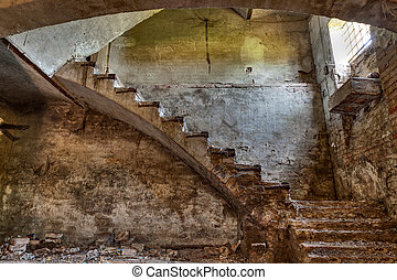 basement of an old country house - dark basement with stairs...