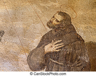 St Francis of Assisi - ancient fresco of St Francis of...