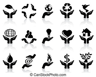 hands holding icons set - isolated hands holding icons set...