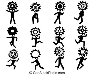 human with gear head icons - isolated human with gear head...