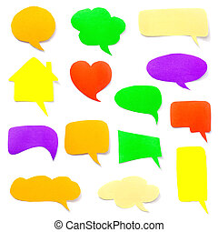 a set of colorful paper speech bubbles