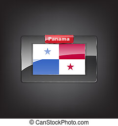 Glass button with the flag of Panama