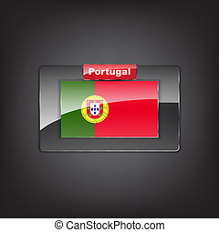 Glass button with the flag of Portugal