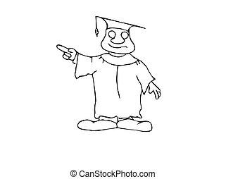 Happy Pointing Professor - Cartoon professor or graduating...