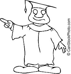 Happy Pointing Professor - Cartoon professor or graduating...