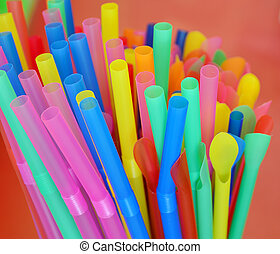 Multi Color flexible straws in coffee shop
