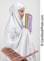 Muslim, kobiety, czytanie, koran