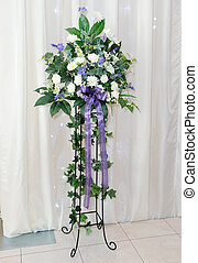 Wedding reception flower arrangement - White and purple...