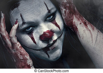 Crazy Clown - Close up portraite of a scary clown,, make-up...