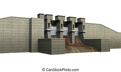 Dam Isolated on White Background 3D Render