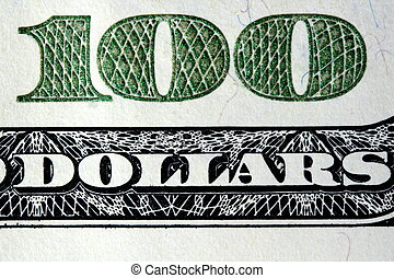 100 Dollars - Macro shot of a 100 dollar bill.