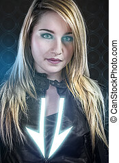 Sexy young woman with blue neon lights, future warrior costume, science girl