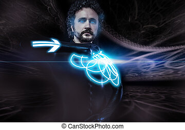 Future man, science fiction image, warrior with neon shield