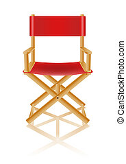red directors chair on white