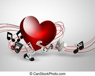 music background with heart and notes