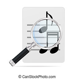 magnifying glass and musical notes