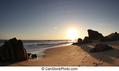 timelapse of a beautiful beach at sunset in baja california,...