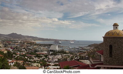 timelapse of the port and boats in cabo san lucas, mexico,...