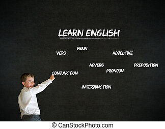 Writing boy business man with learn English background -...