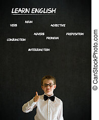Thumbs up boy business man with learn English background -...
