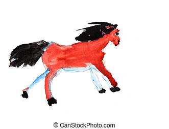 childs painting - galloping horse - childs painting -...