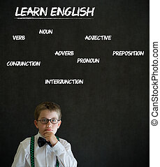 Thinking boy business man with learn English background -...