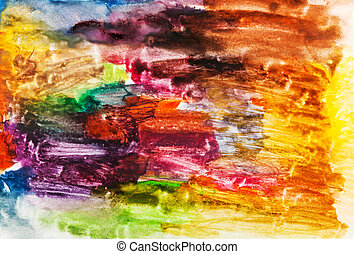 child's painting - abstract bright brush strokes