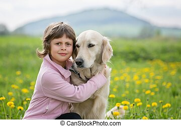 Girl hugging a big dog in an outdoor setting - A little...