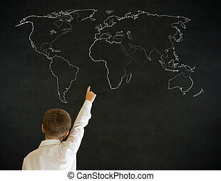 Hand up answer boy business man with chalk geography world...