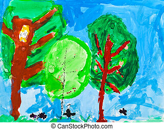 childs painting - green trees - childs painting - summer...