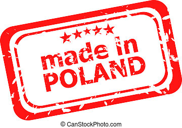 Red rubber stamp of made in poland