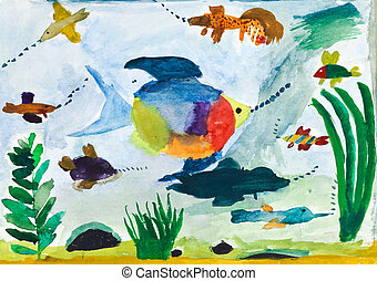 child's painting - fishes in sea - childs painting -...