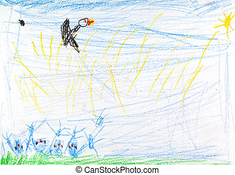 childs drawing - bird under summer fielld - childs drawing -...