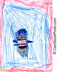 childs drawing - abstract bird - childs drawing - abstract...
