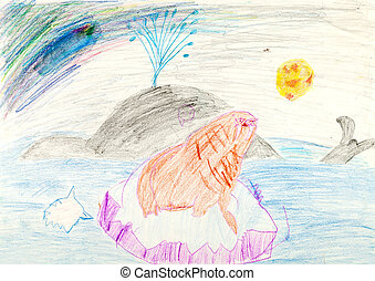 childs drawing - whale and seal on ice block in ocean -...