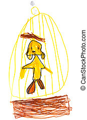 childs drawing - bird in cage - childs drawing - yellow bird...