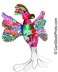 child's drawing - pied parrot - childs drawing - pied...